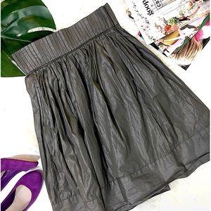 Zara Pleated Full Midi Skirt in Gray